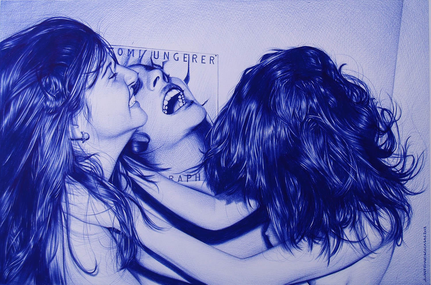 girls laughing, blur drawing by Juan Francisco Casas