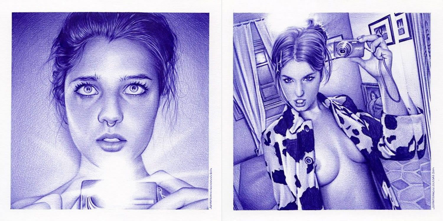 selfies, drawings by juan casas