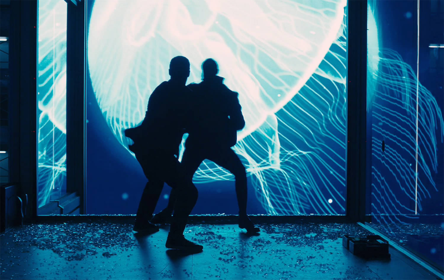jellyfish scene in skyfall, blue lights