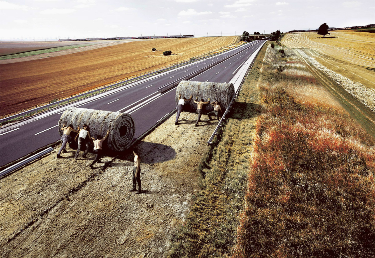 surreal photo manipulation road earth workers