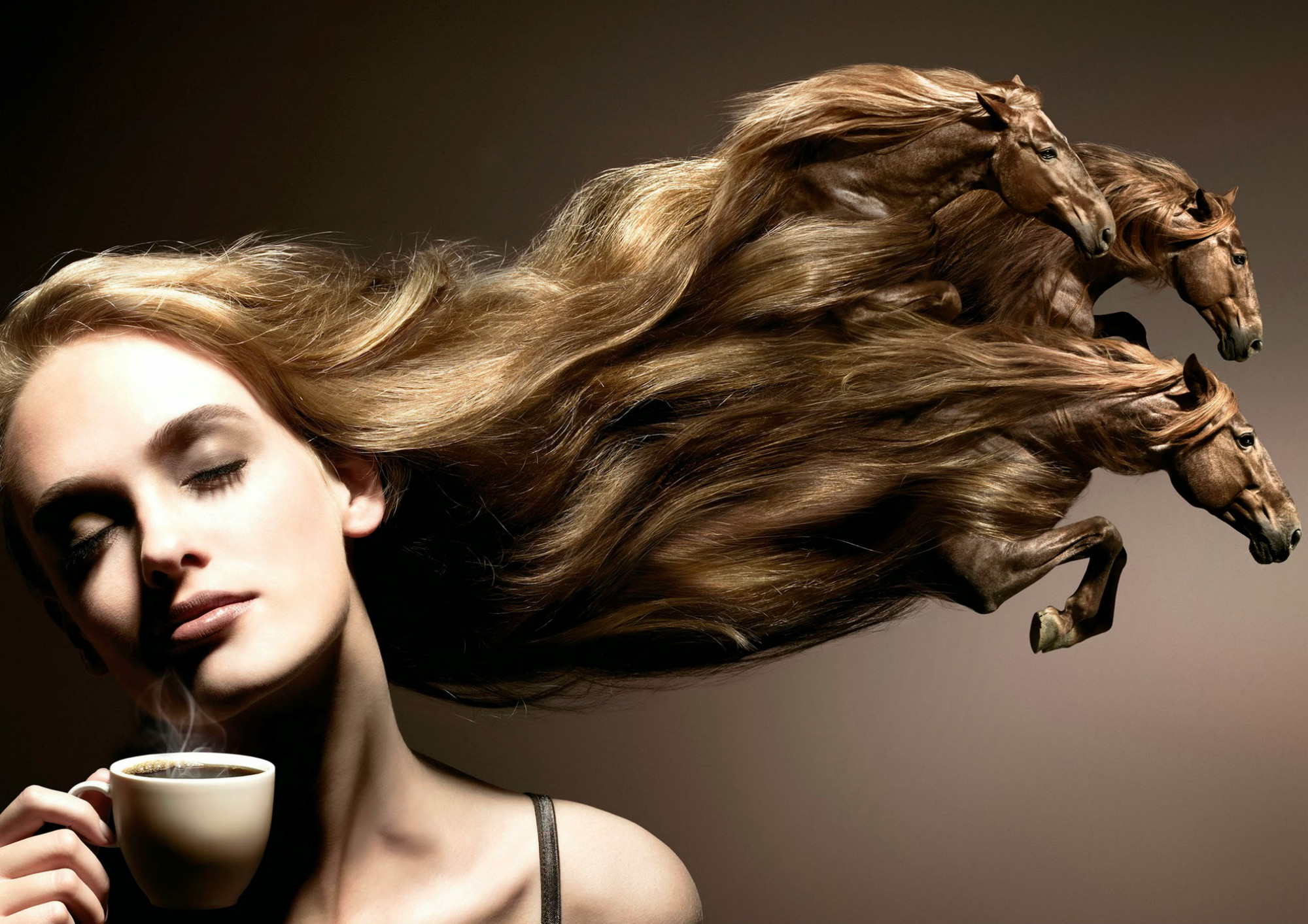 surreal photo manipulations digital hair coffee horses