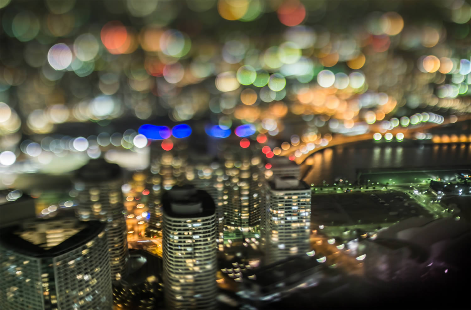 skyscrapers, bokeh photography, japan, by Takashi Kitajima