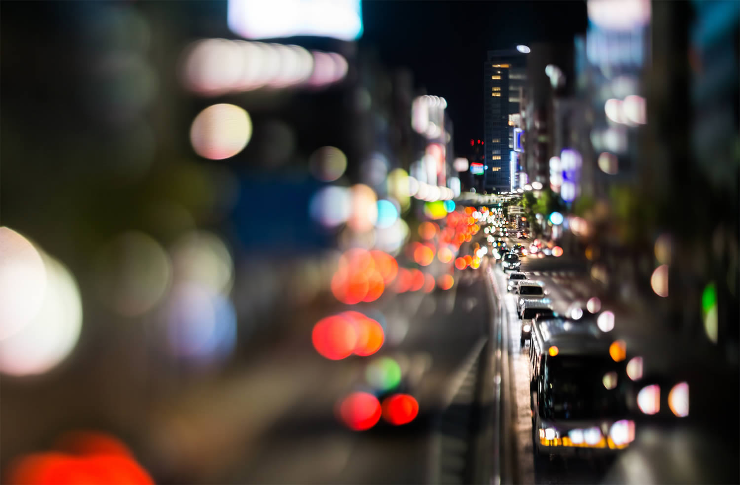 city with cars, bokeh photography, japan, by Takashi Kitajima