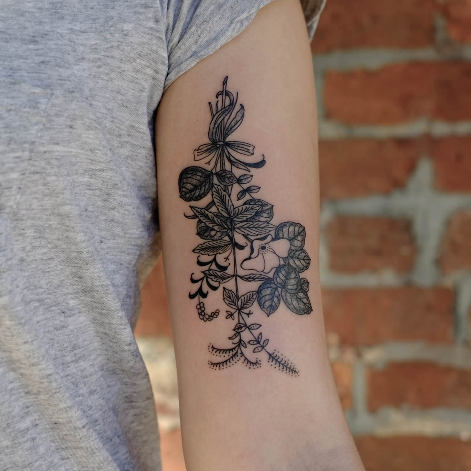 flowers, botanical tattoo by victor j webster