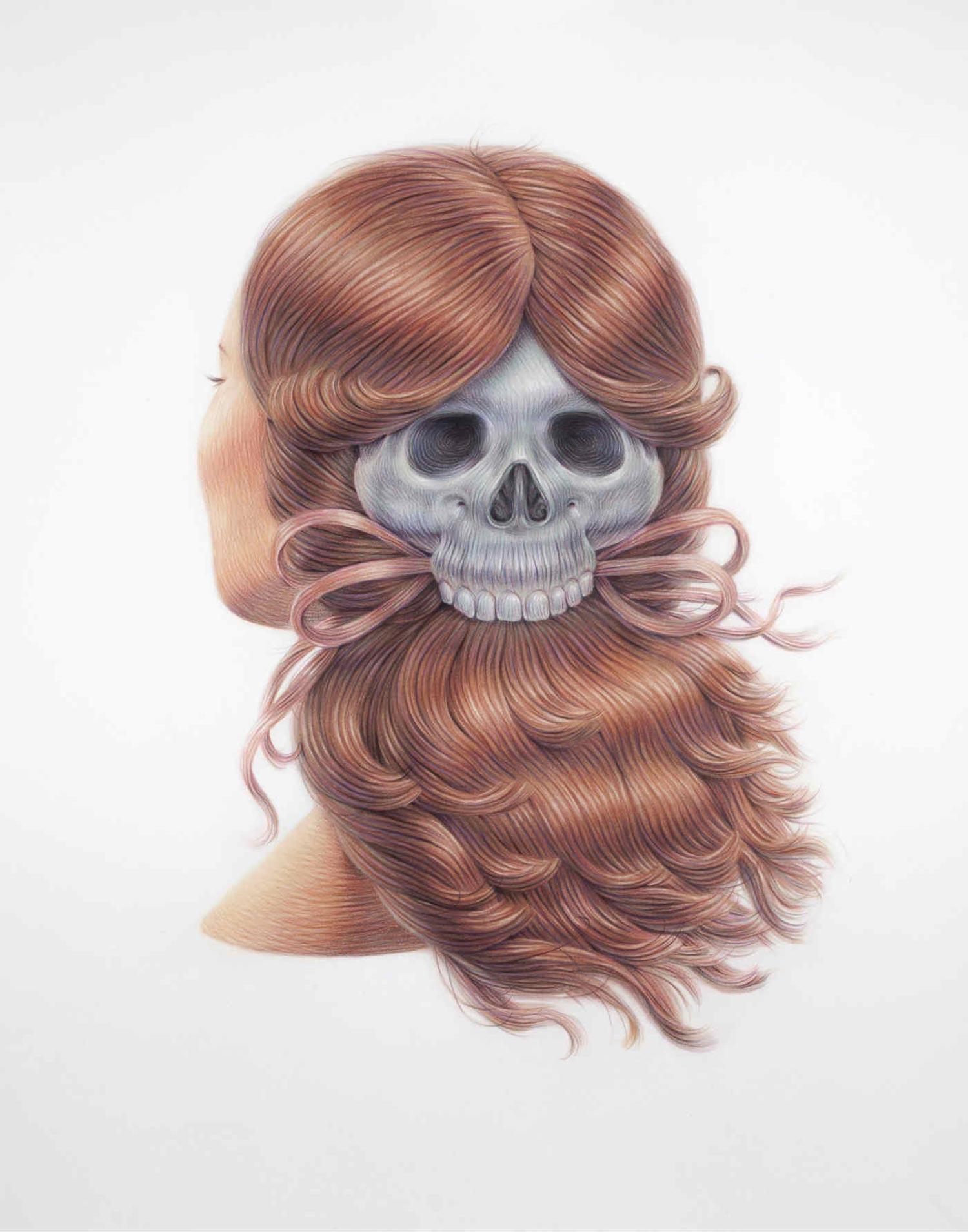 winnie truong moulded hair illustration skull hair tie