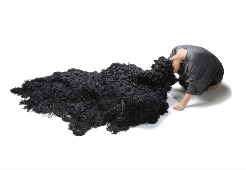 yuni kim lang sculpture hair black surreal white