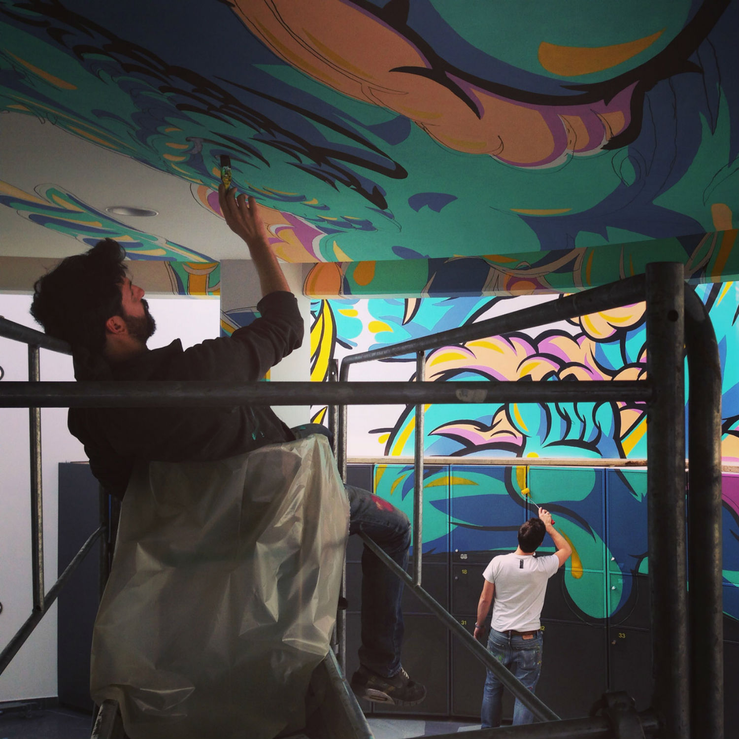 truly design anamorphic graffiti painting zeus god colour space