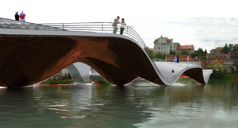 maribor footbridge wave metal illusions