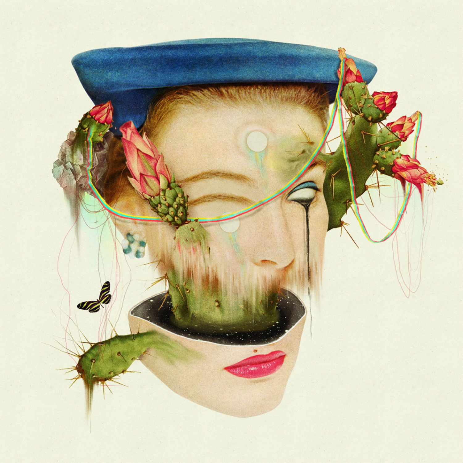 dromsjel illustration colour collage abstract woman portrait