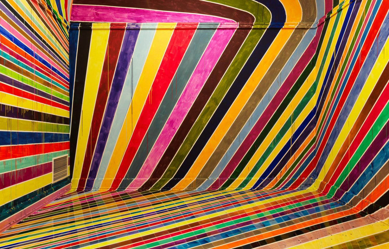 german artist colour stripes illusion optical