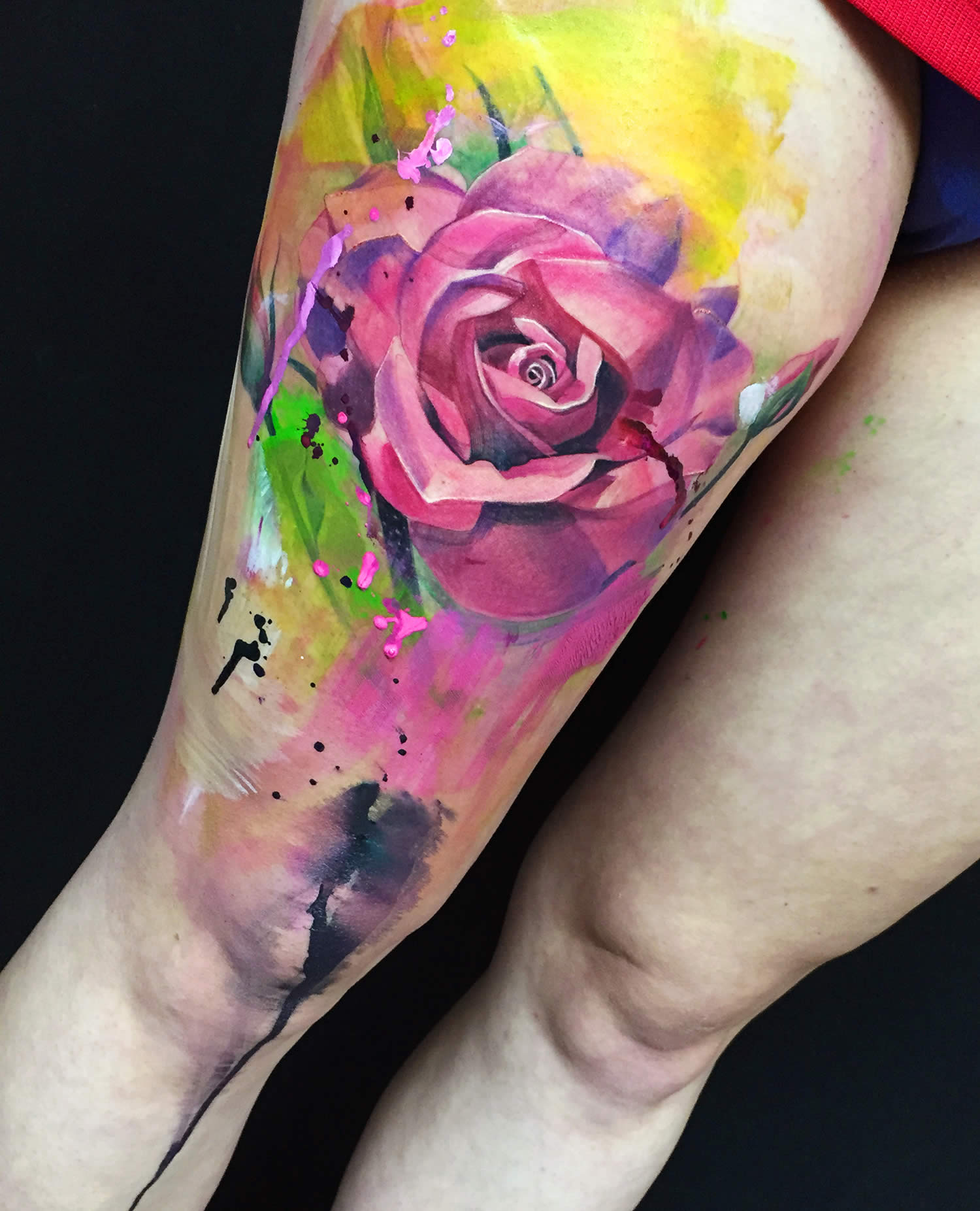 3d pink rose tattoo on leg by ivana tattoo art
