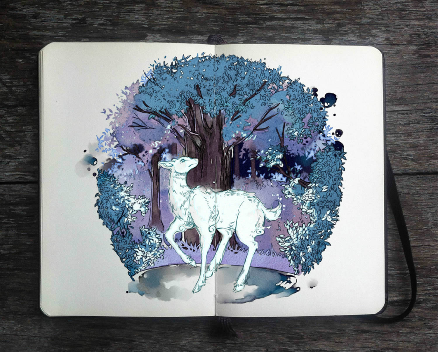 white deer, moleskine art by gabriel picolo