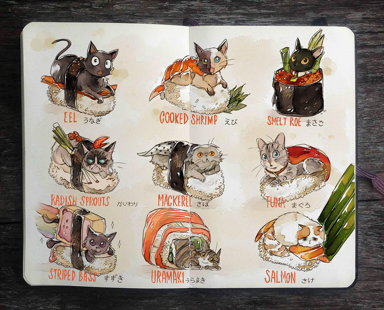 cat sushi rolls, moleskine art by gabriel picolo