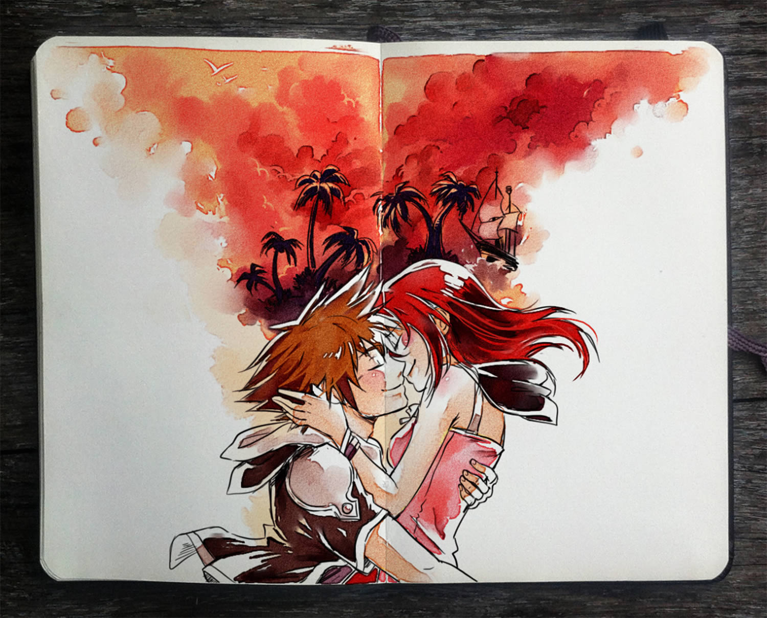 romantic couple kissing, sketchbook art by picolo