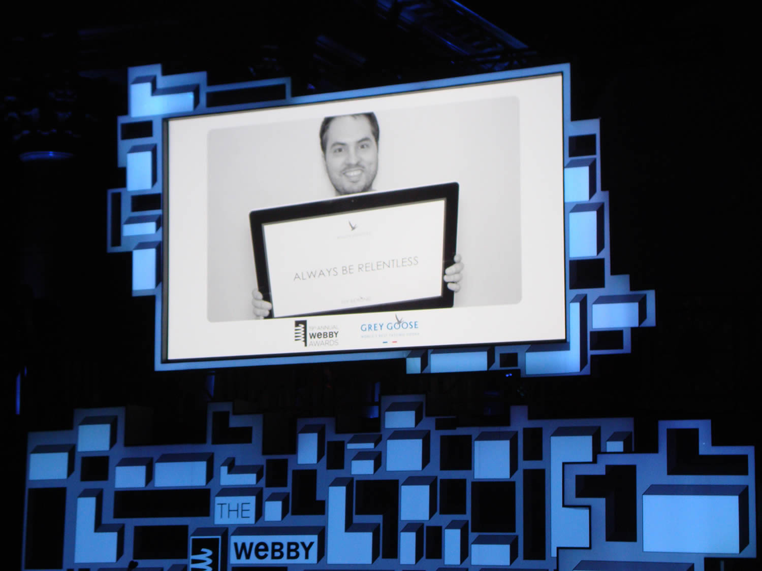screen at the webbys