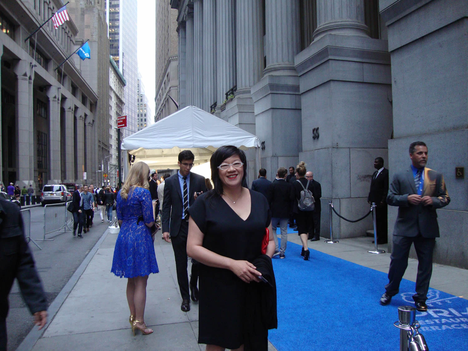 jenny eng at entrance of ciprani (wall street ) for the 19th annual webby awards