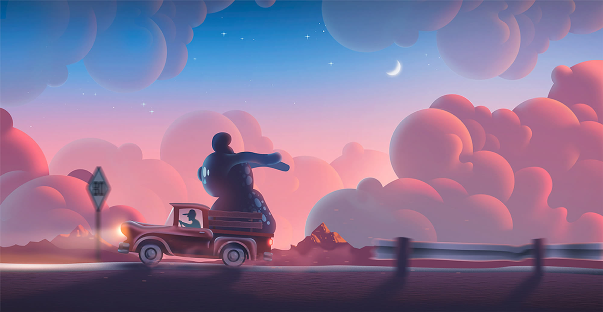 driving, cartoon, concept art