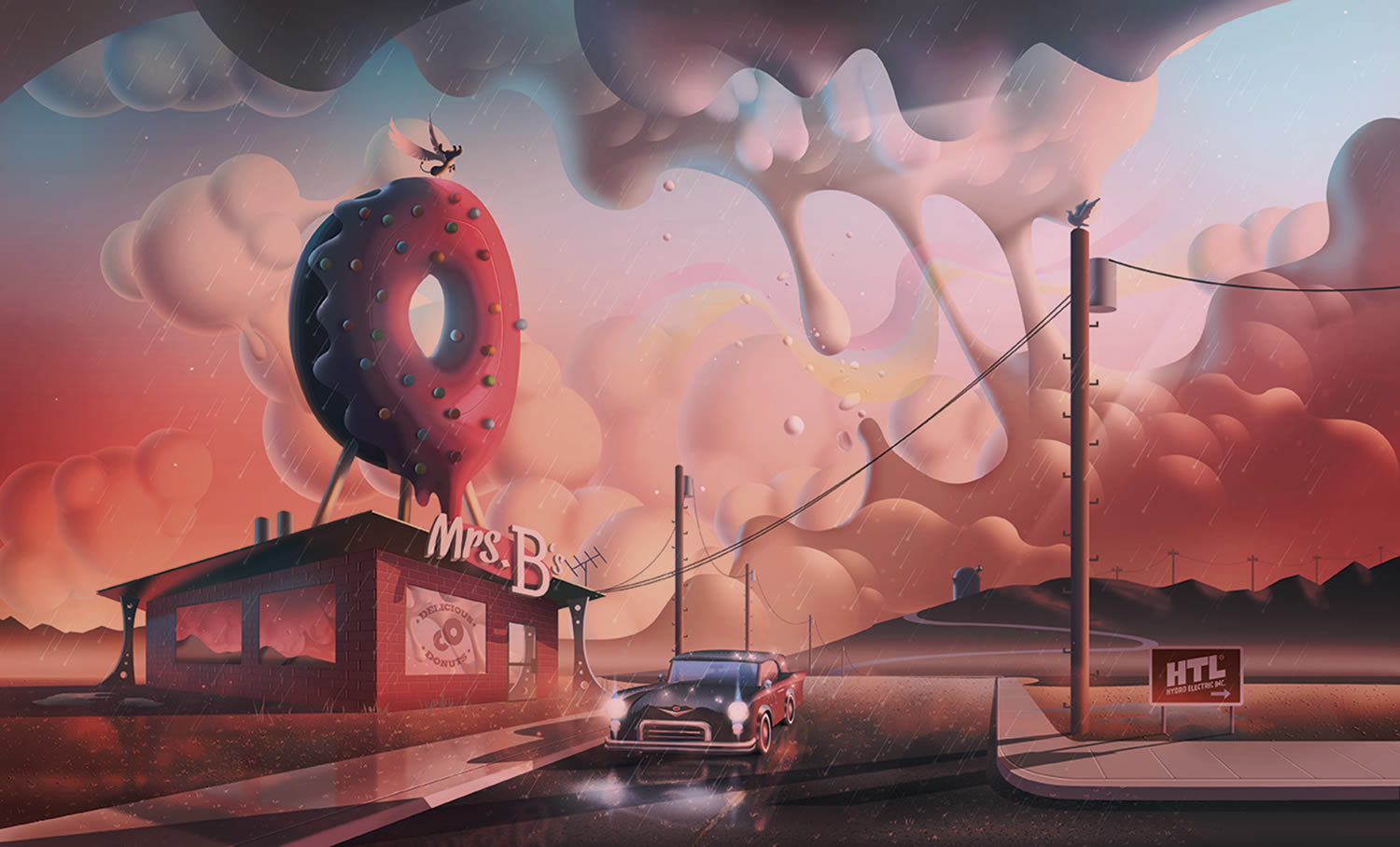 donut shop, and car, pink clouds