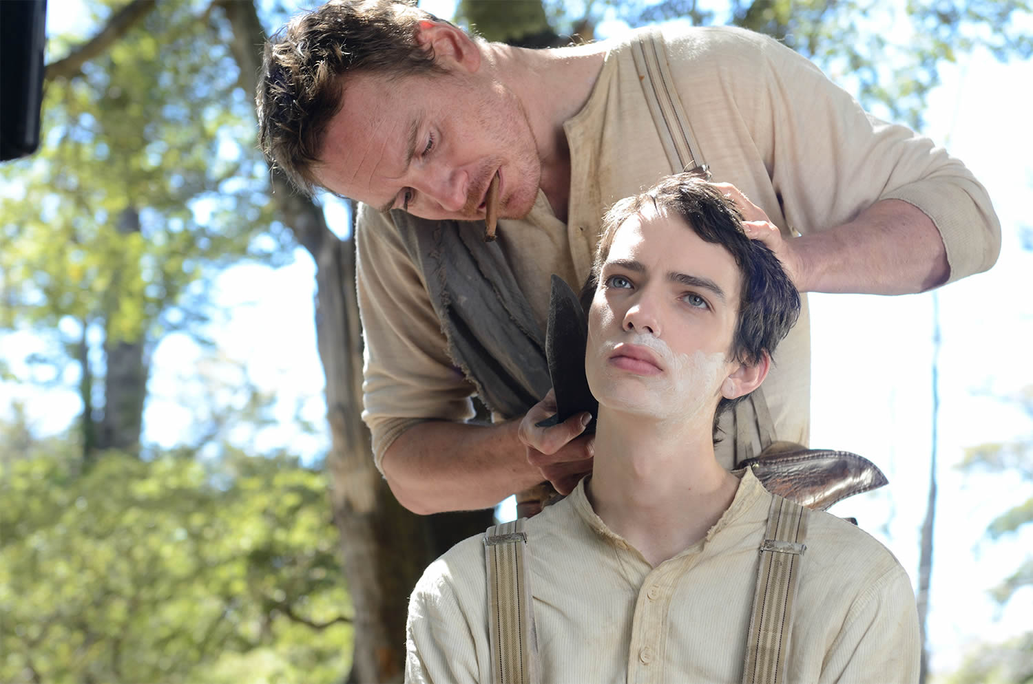 michael fassenbender shaving boy's beard, slow west