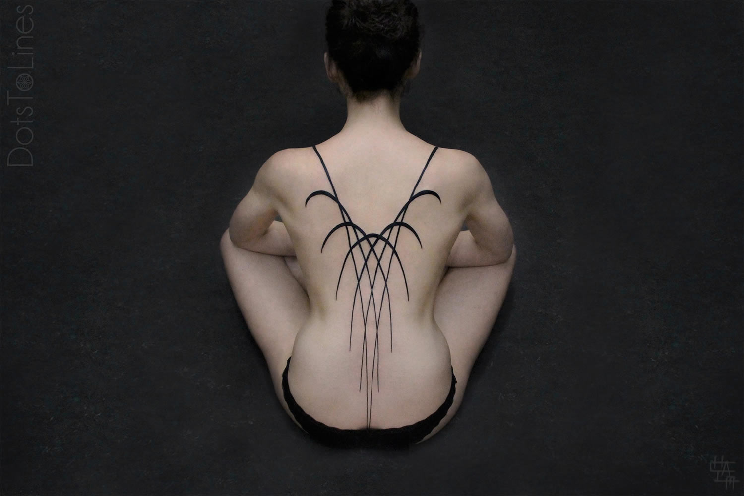 back pattern, black ink by chaim machlev, dotstolines