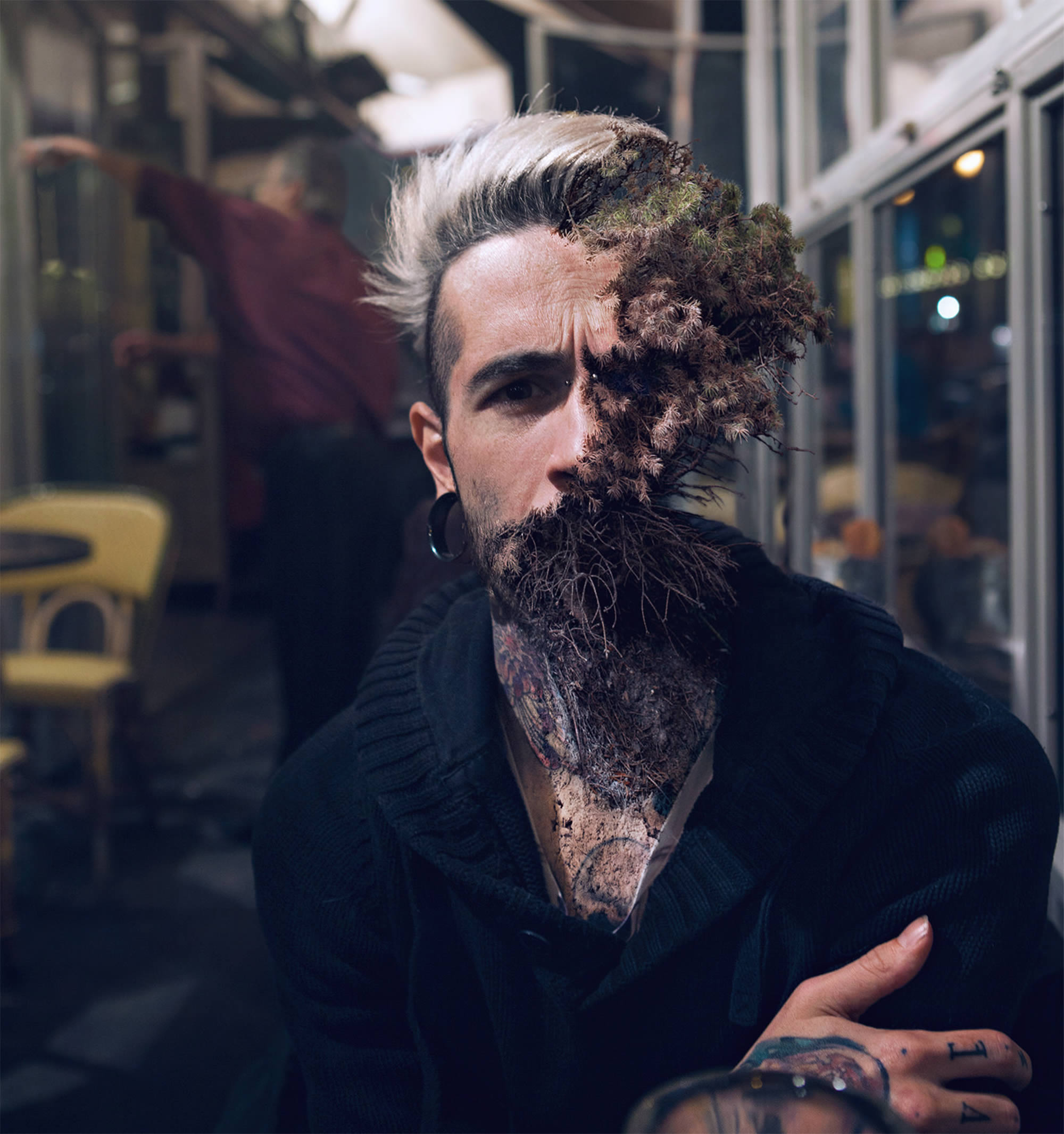man in subway, treebeard by Cal Redback
