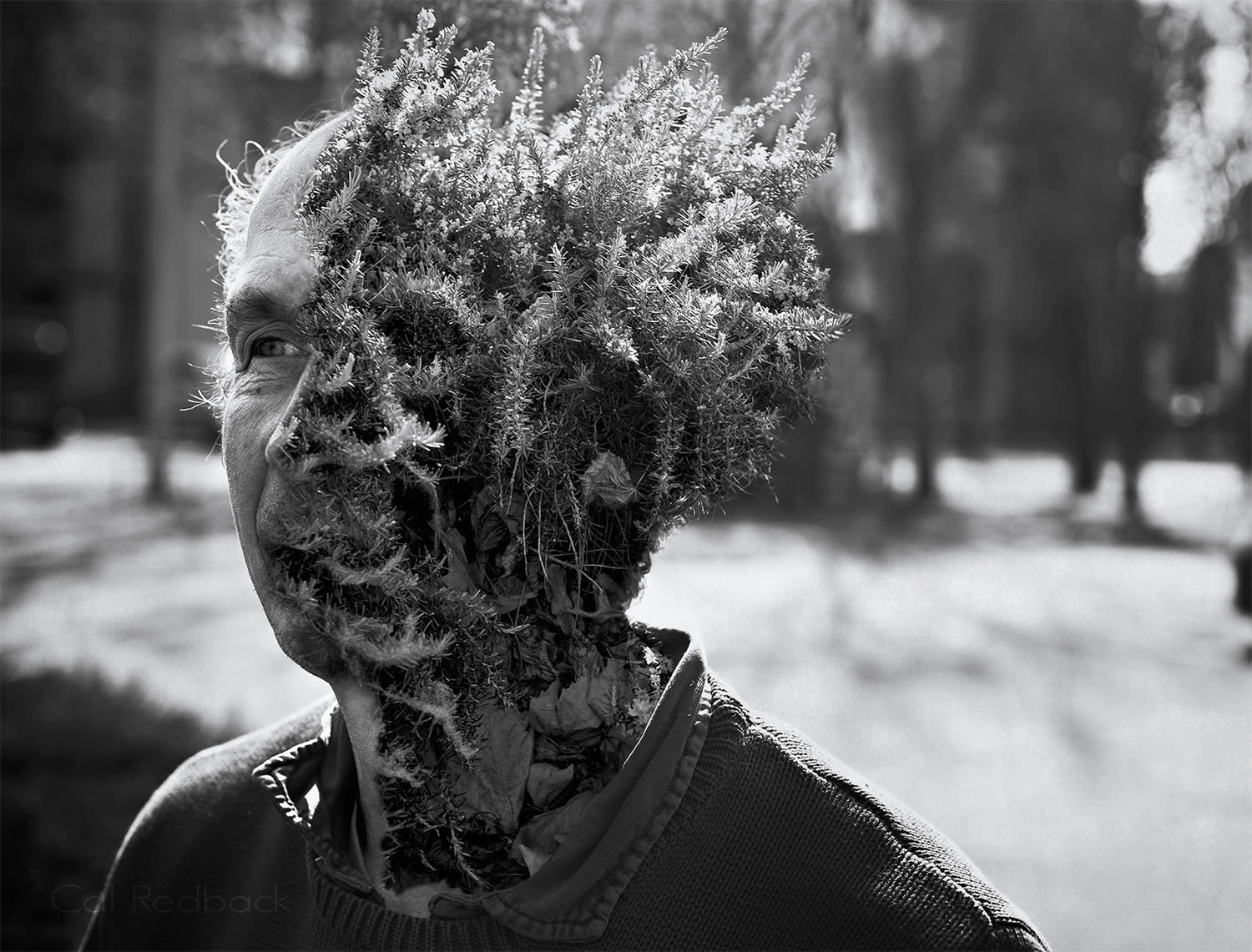 plant man hybrid in black and white