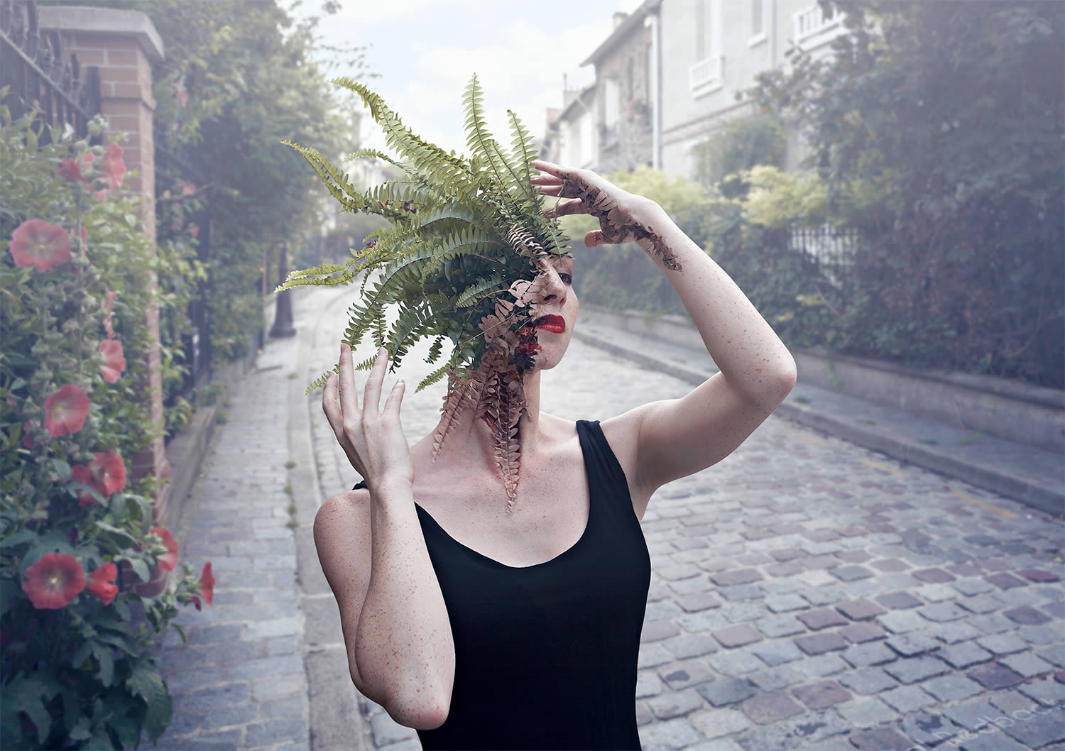 girl with plant mohawk