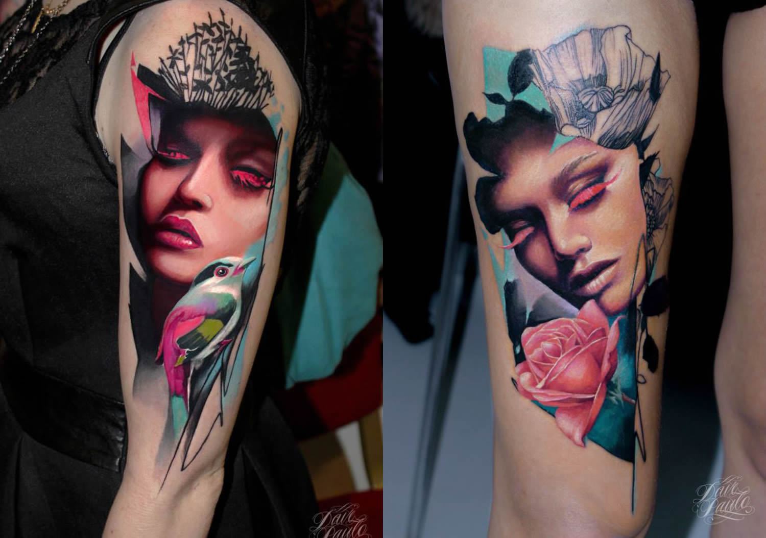 pink eyelashes, woman portrait tattoos