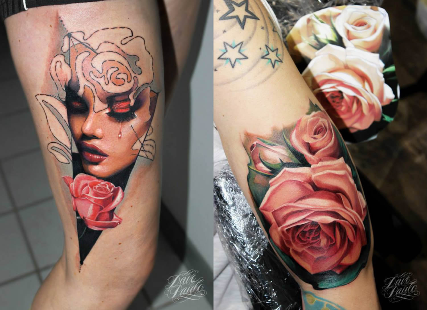 pink roses and portrait tattoo