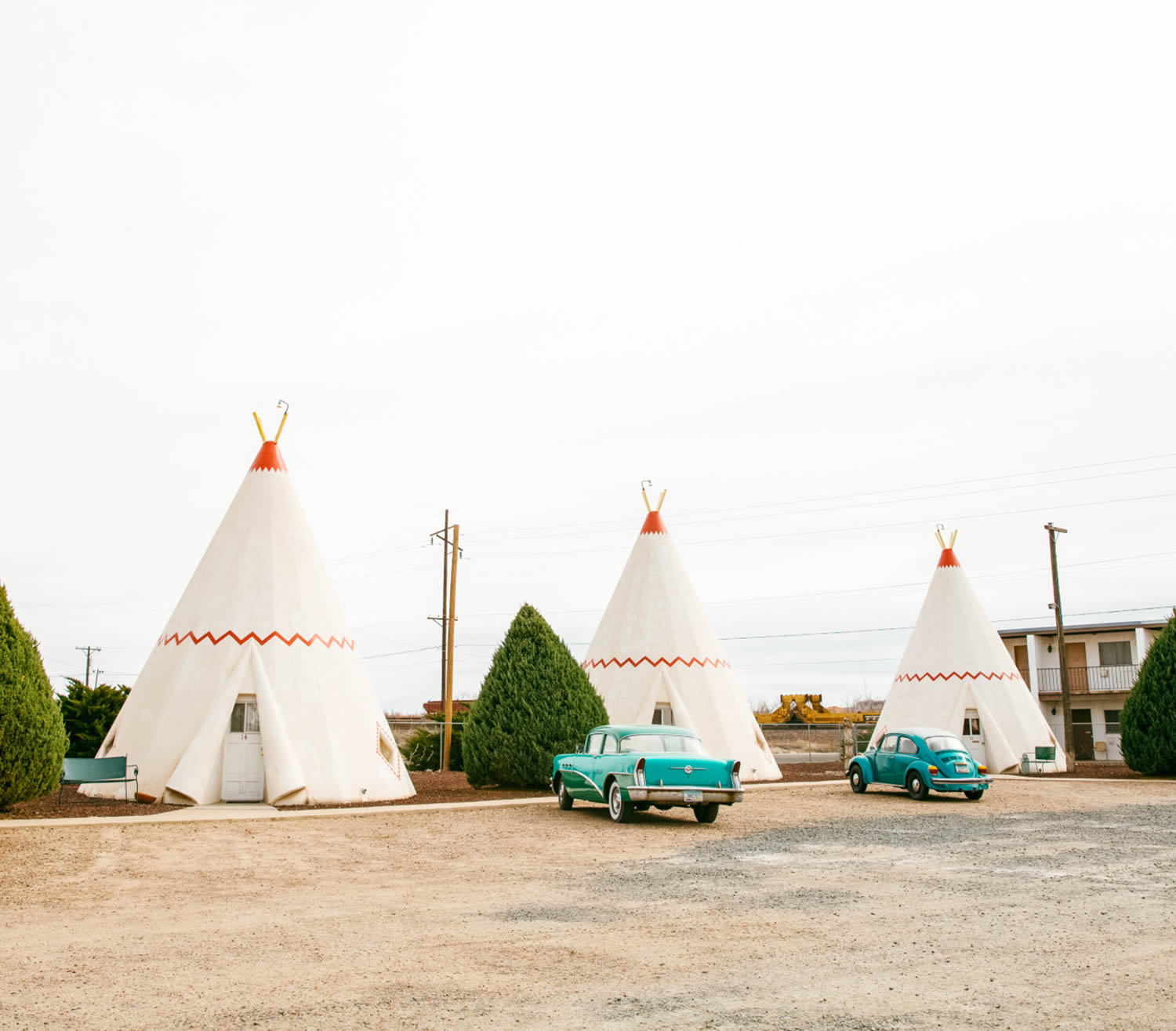 teepees and turquoise cars