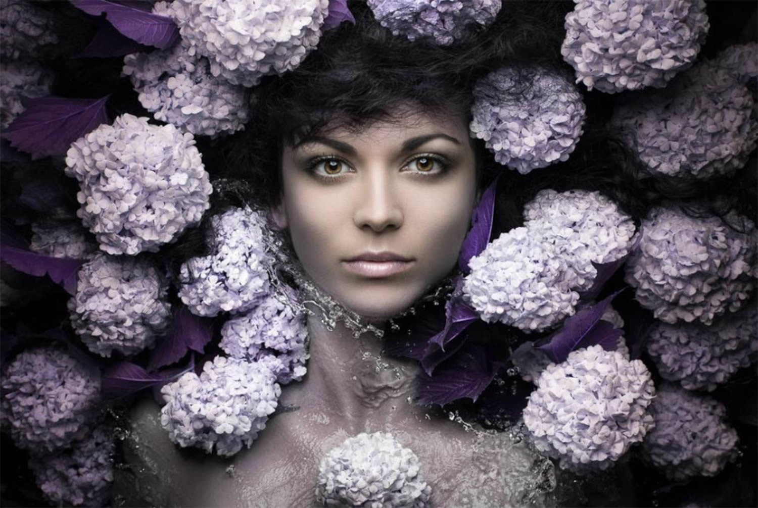 purple flowers around face, portrait by evgeni kolesnik