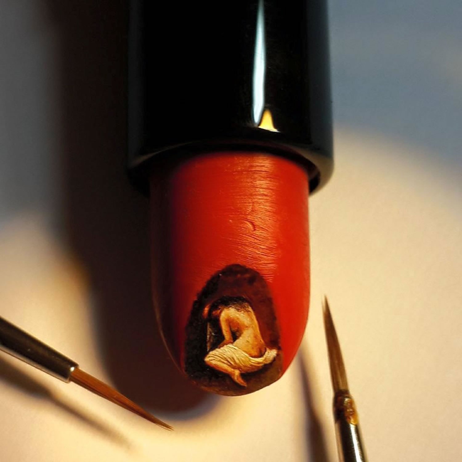 nude painting on lipstick by hasan kale