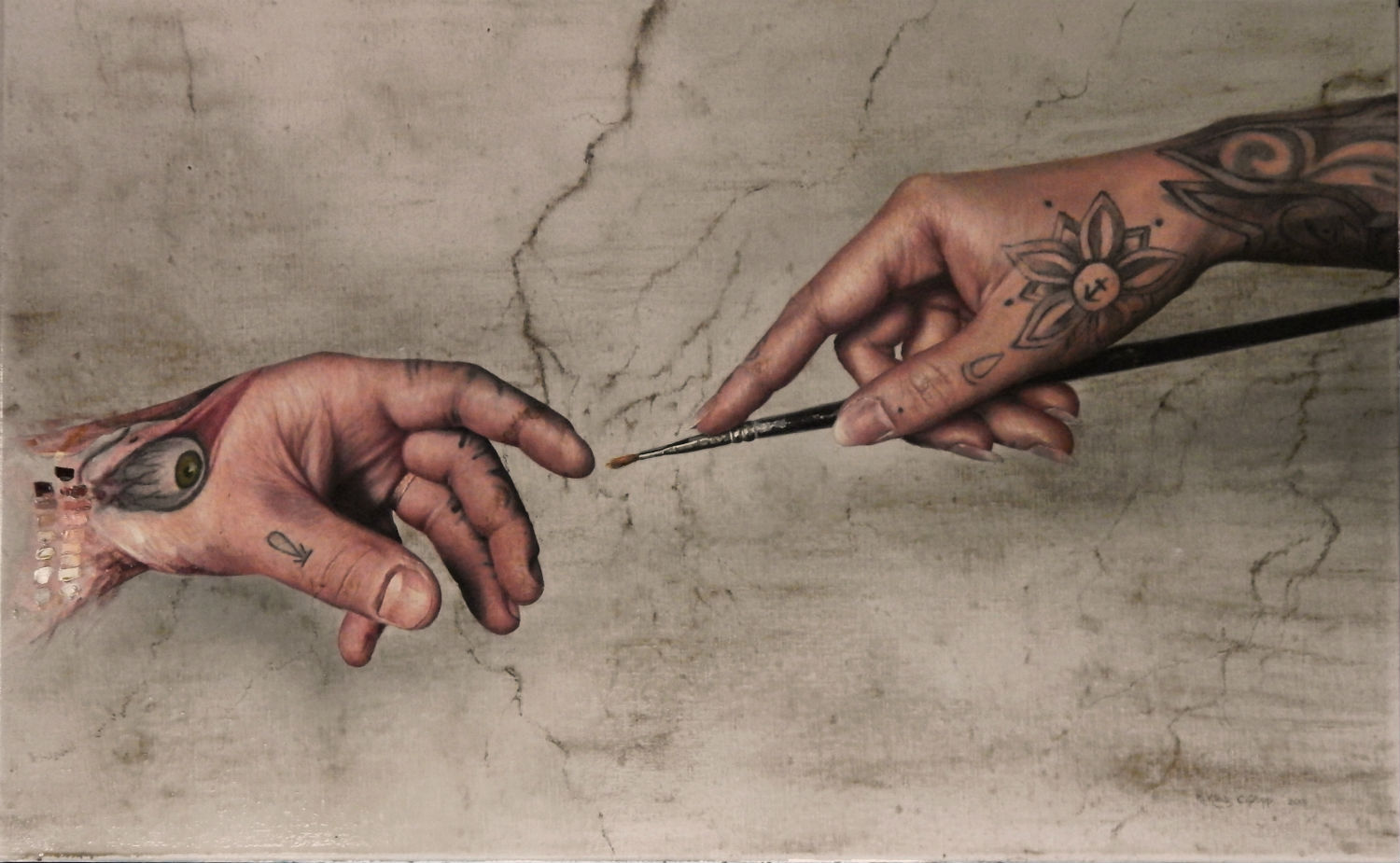 kit king new work hyper realist painting hand god