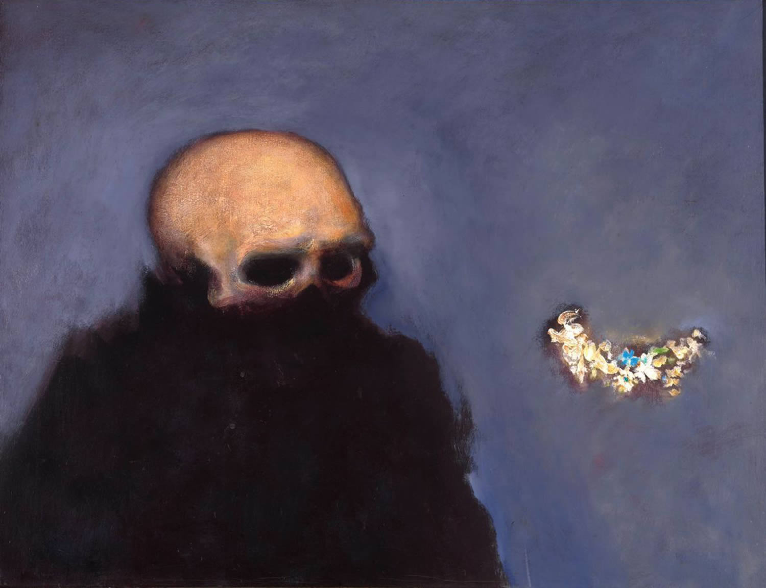 cloak man with skull head, painting by Walter Kuhlman