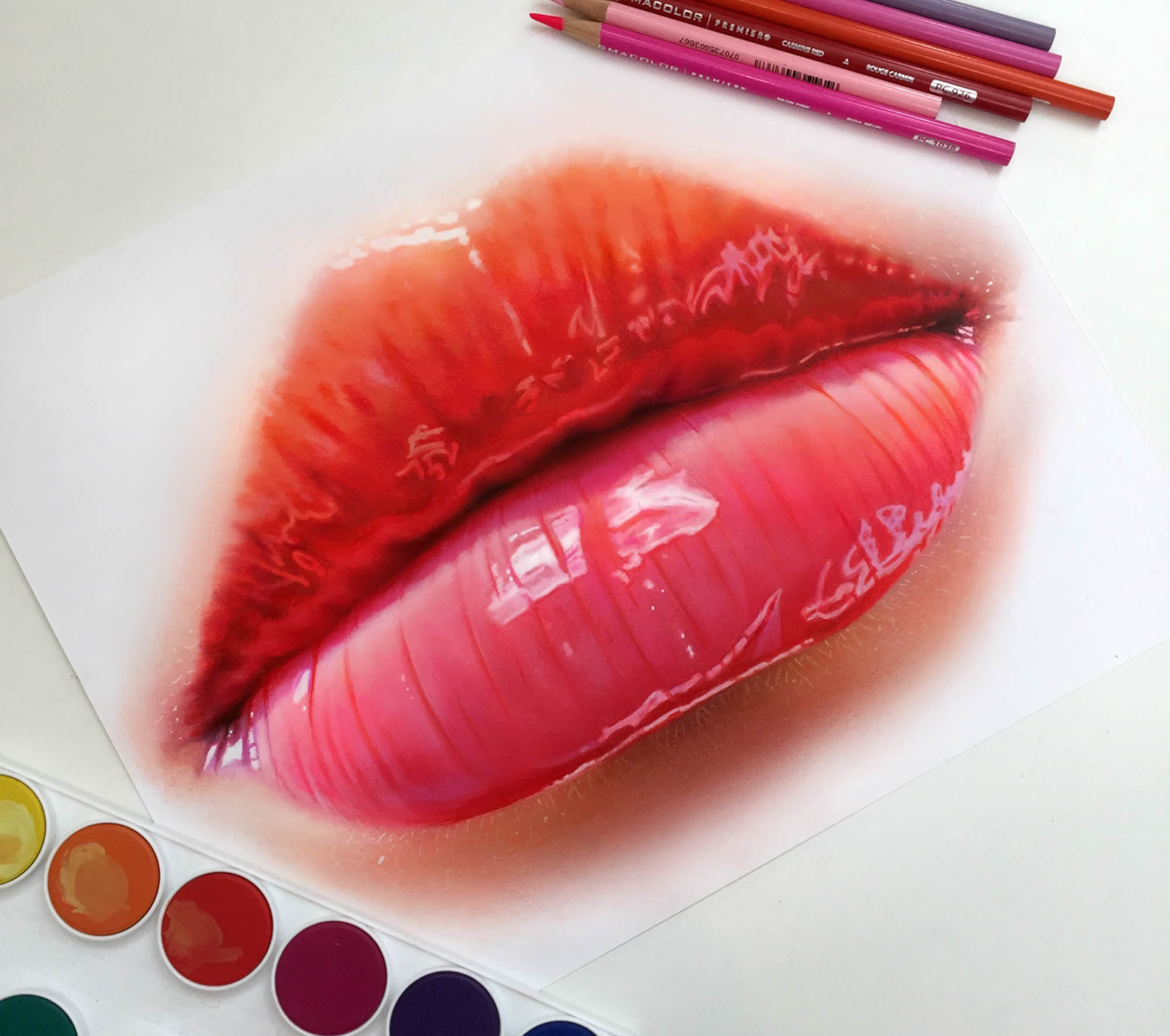 pink lips, 3d drawing on paper