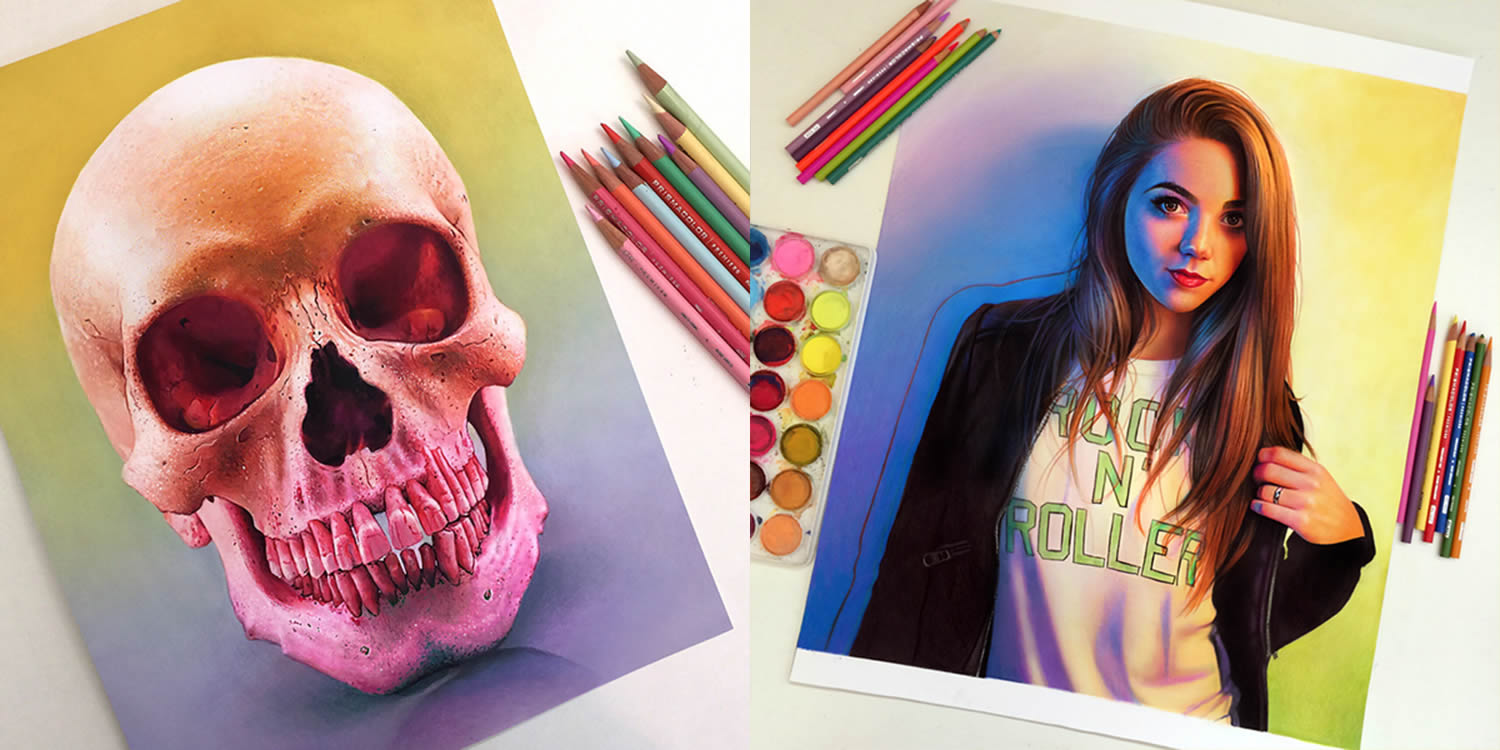 human skull and modern girl drawings