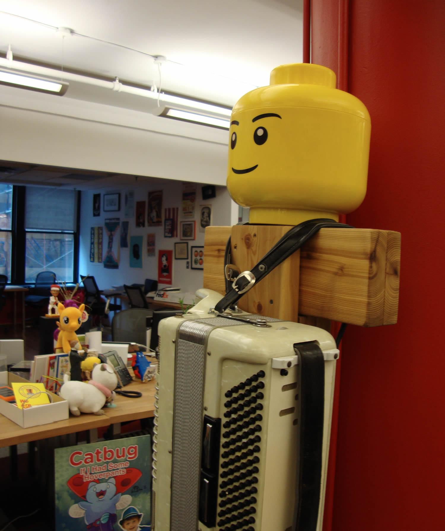 lego man in webby office