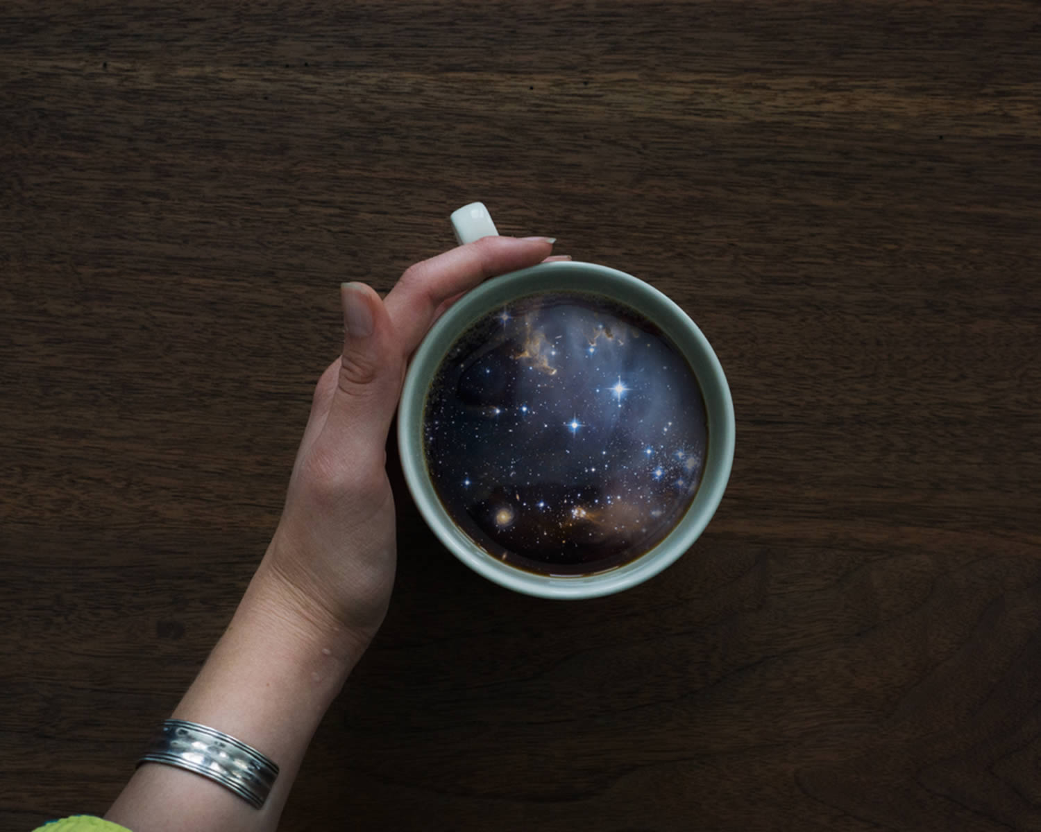 universe, galaxy in coffee cup