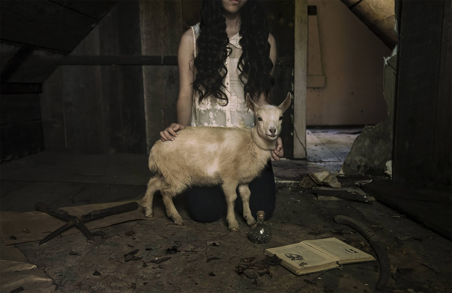 girl with baby goat, dark art, brendon burton