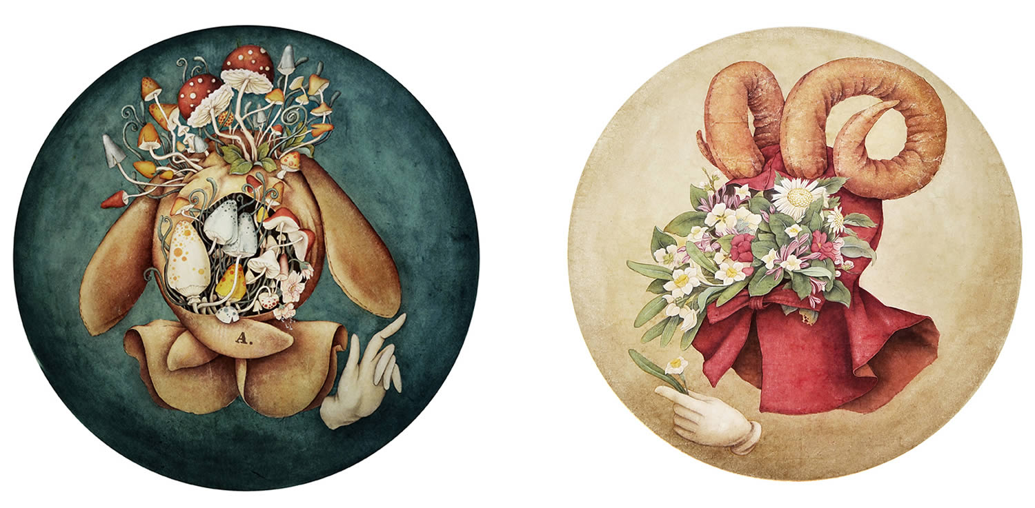 two circle paintings by alice lin