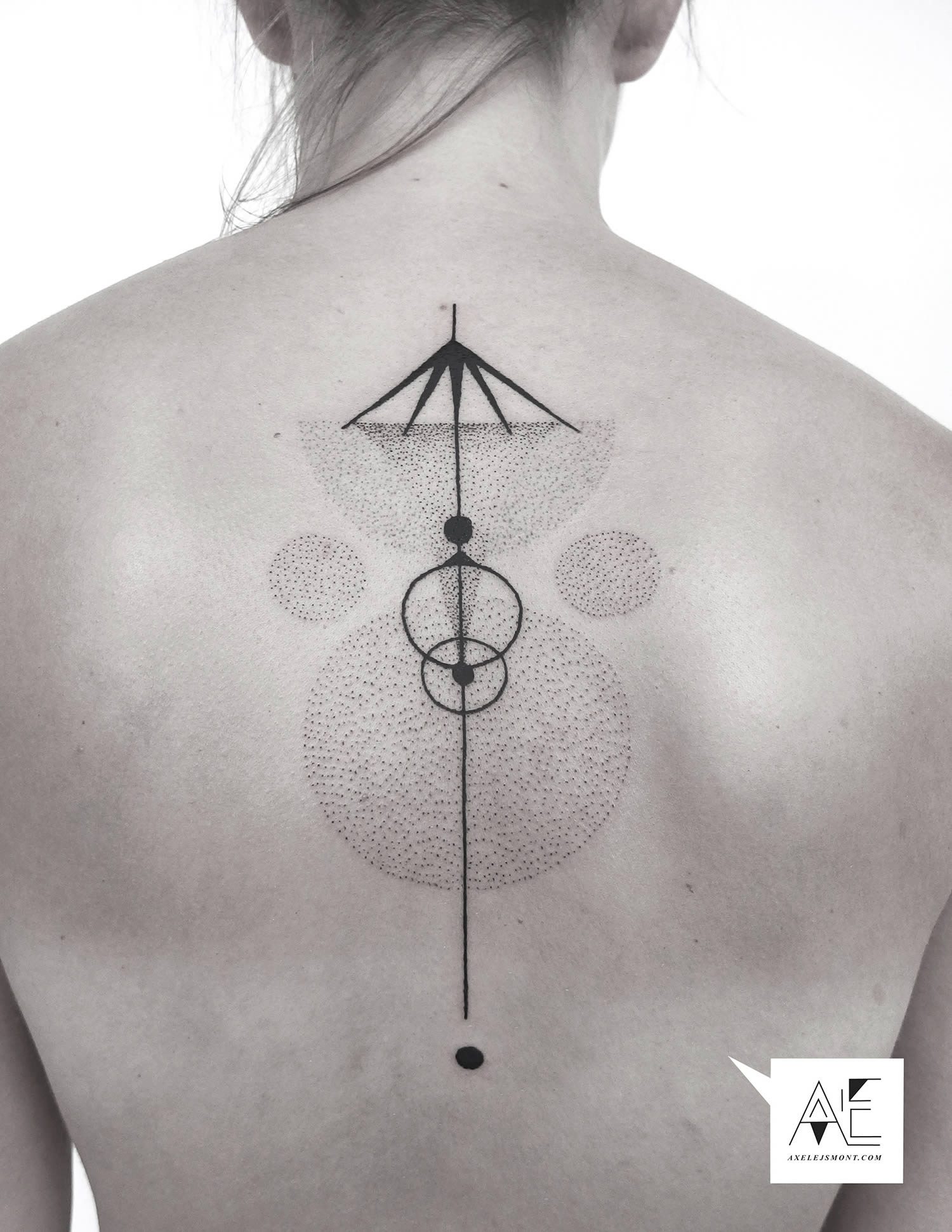 back tattoo, dots and lines
