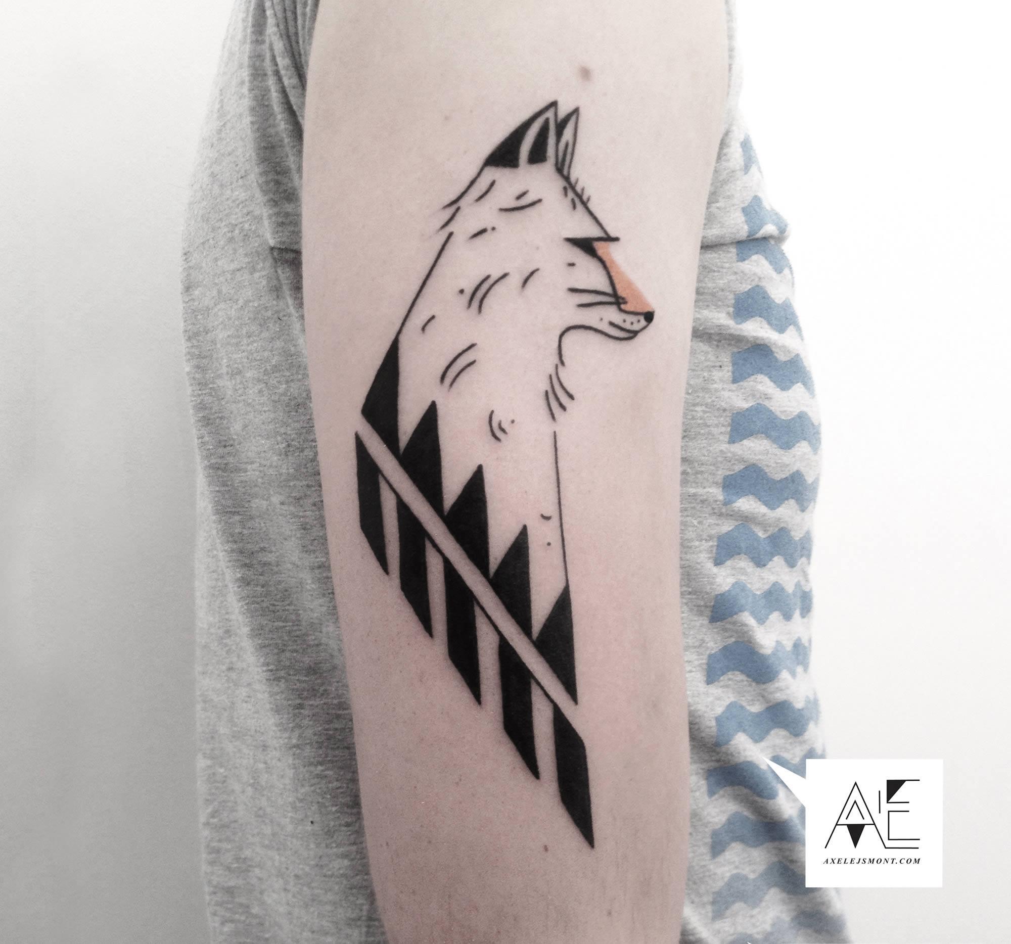 minimalist fox tattoo