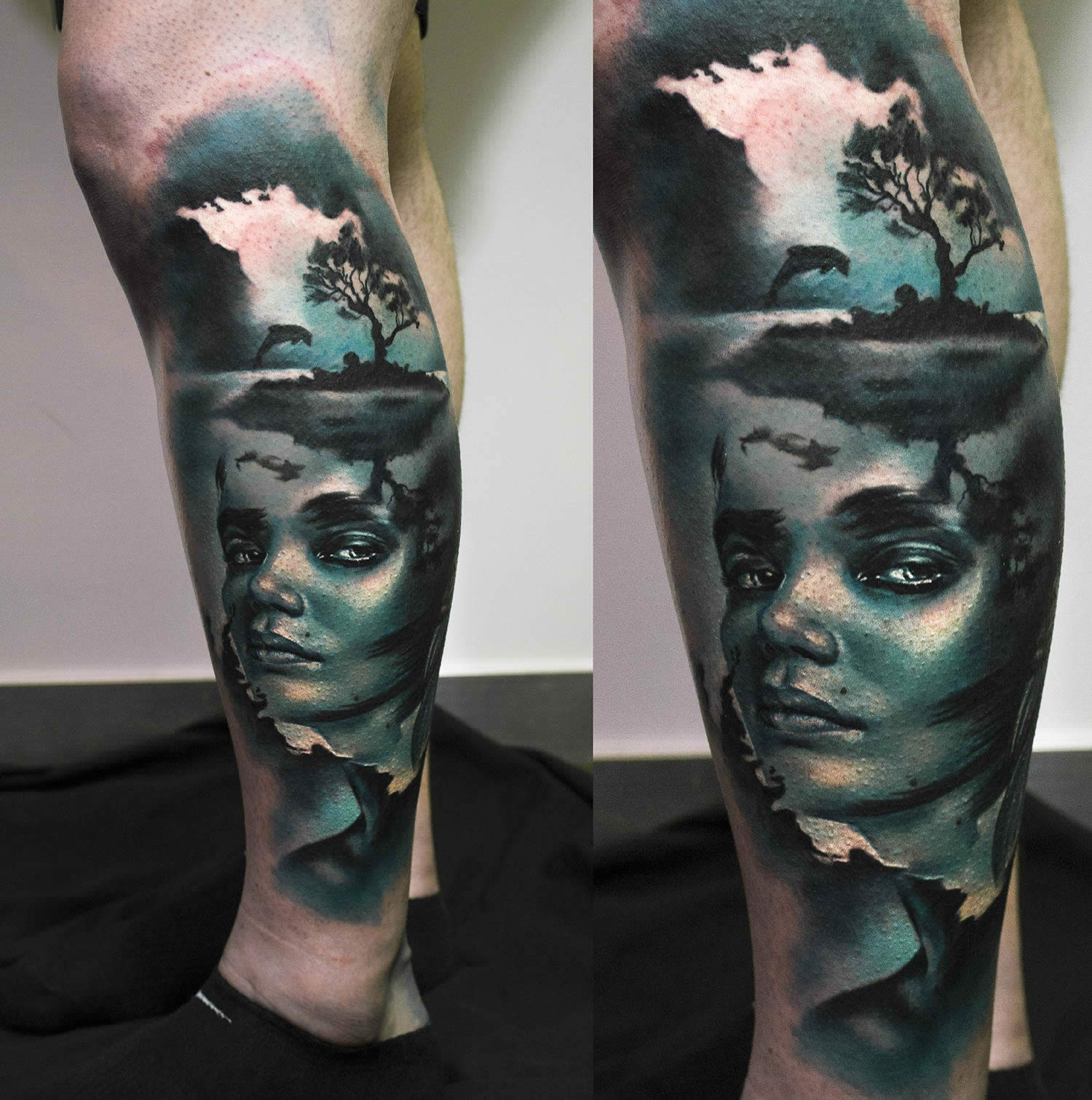 blue face girl and forest tattoo