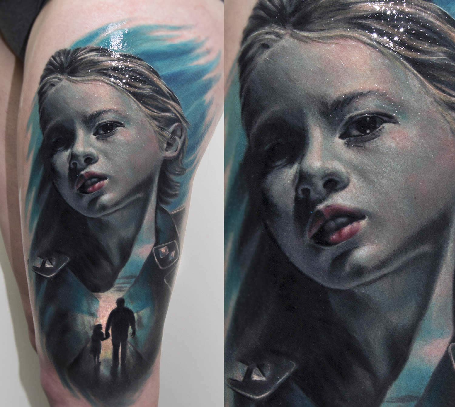 blue face boy tattoo