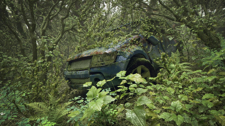 gelmi studio green forest jungle jeep digital art