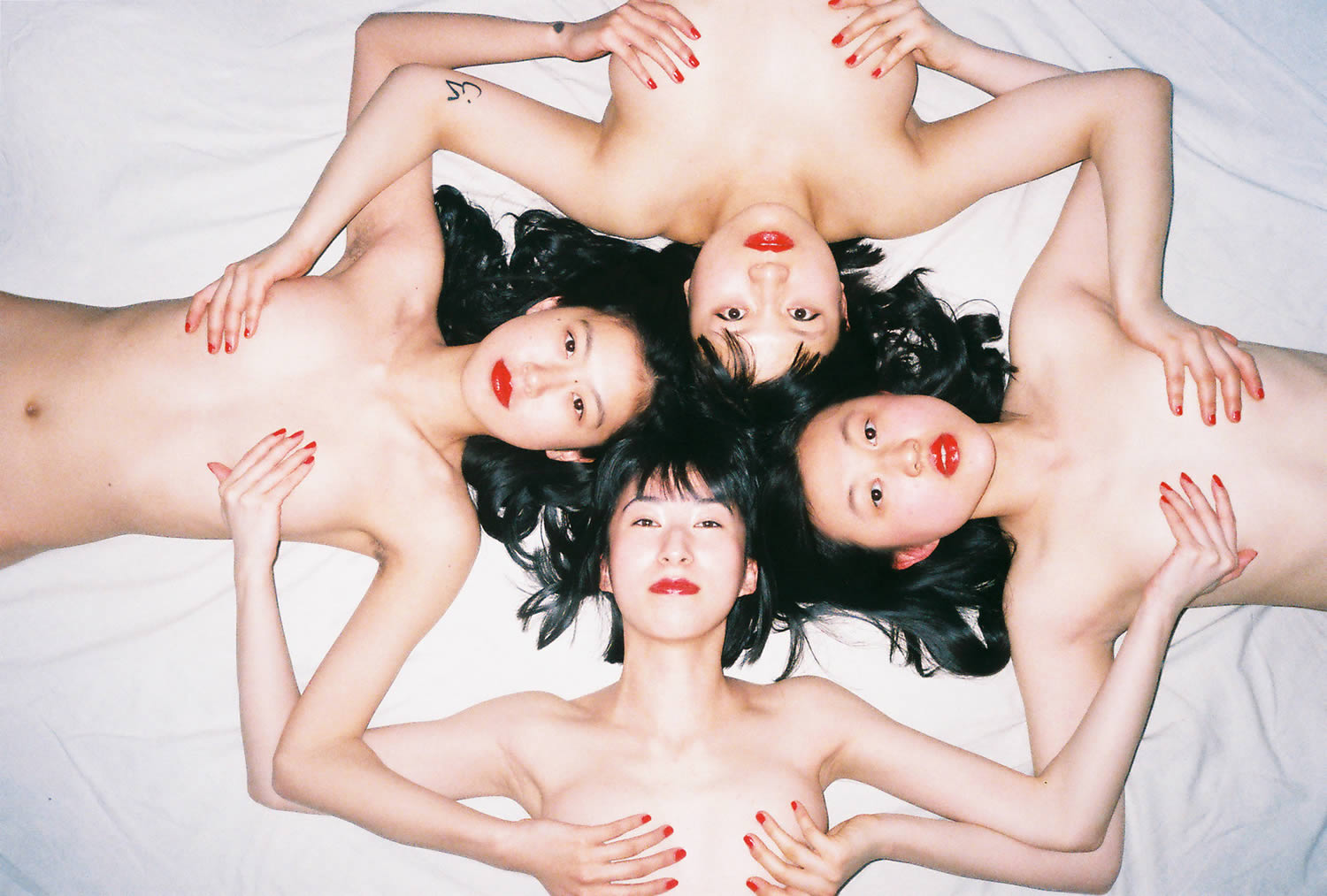 women forming a circle. photography