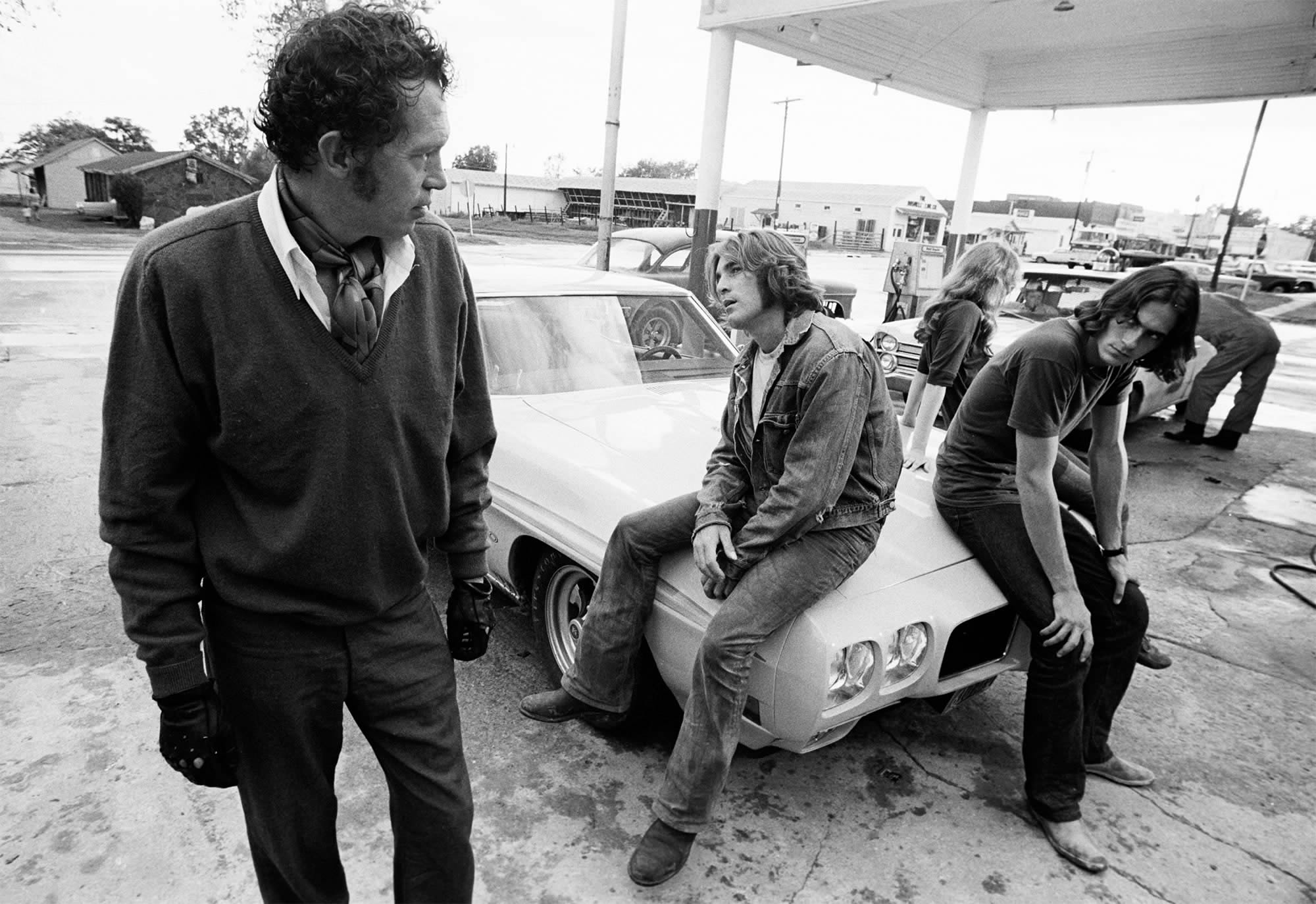 guys sitting on white car, Two-Lane Blacktop