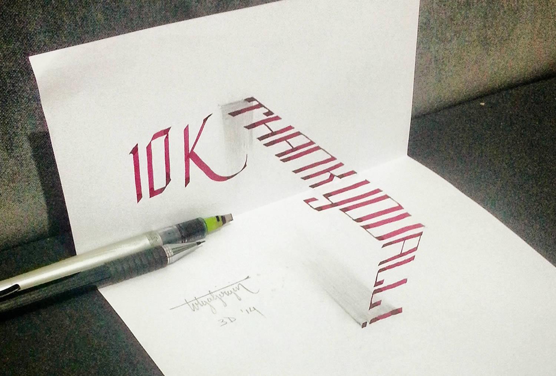 10k lettering