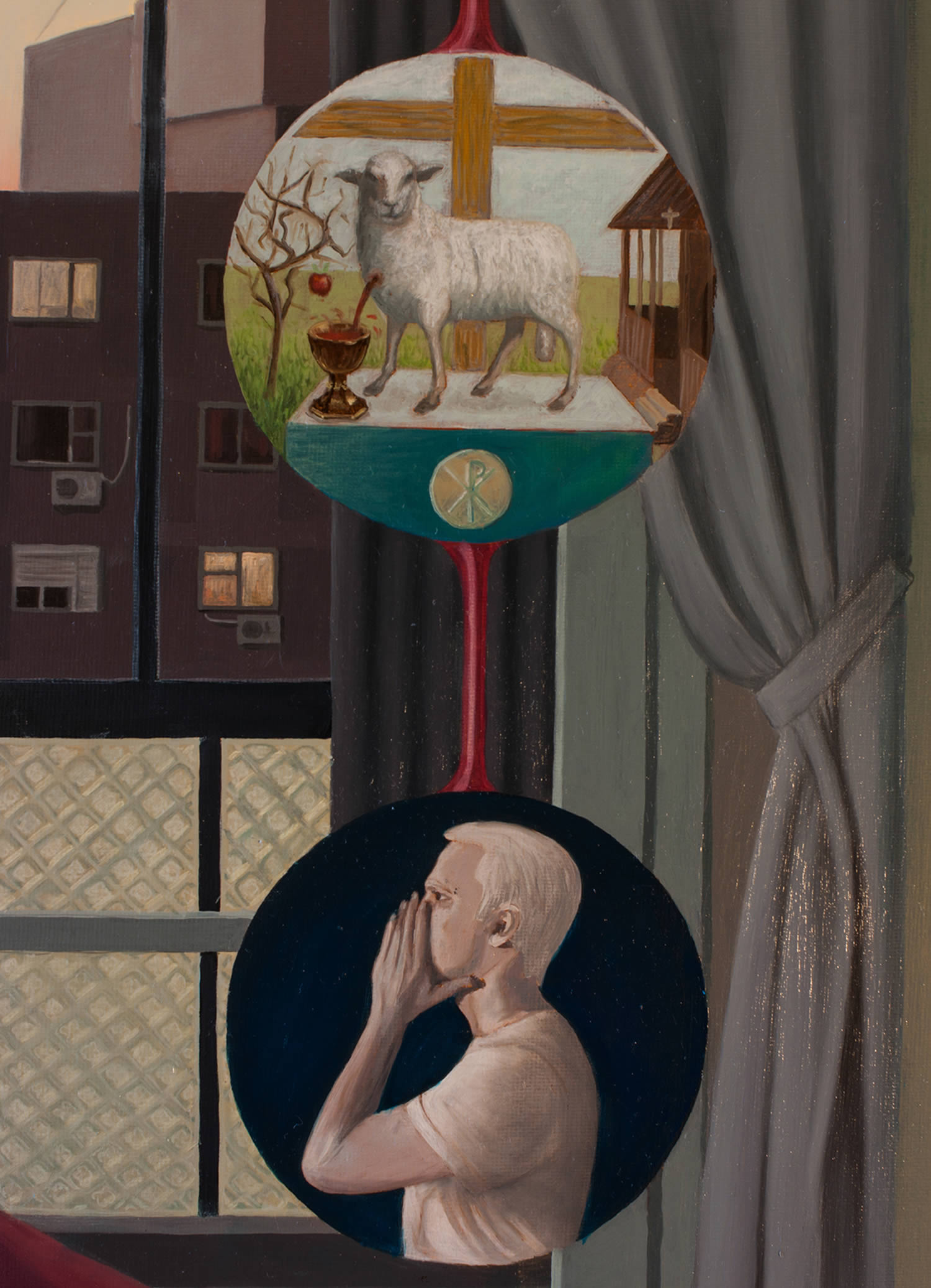 closeup of painting, circles, lamb