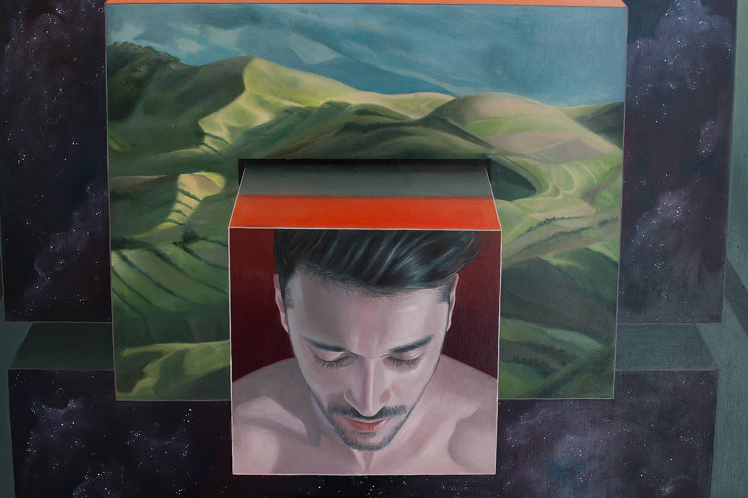 cube and head, painting by victor fota